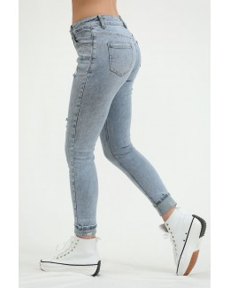 Jeans superajustados azul denim lavados