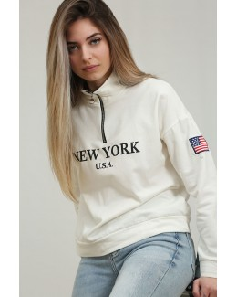 Sudadera New York blanca