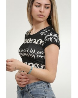 Crop top print dragones negro