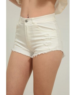 Short fit rotos blanco