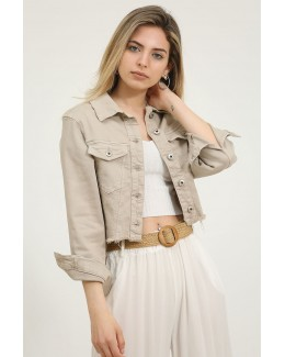 Chaqueta cropped beige