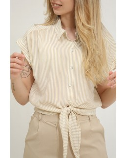 Camisa cropped de rayas beige