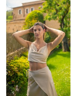 Crop top de raso beige