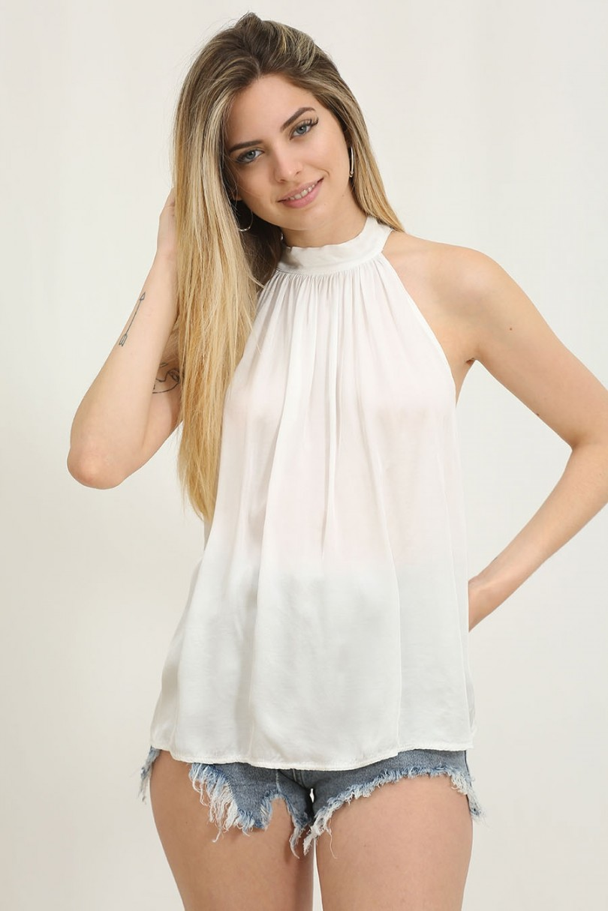 Blusa de raso cuello halter blanco