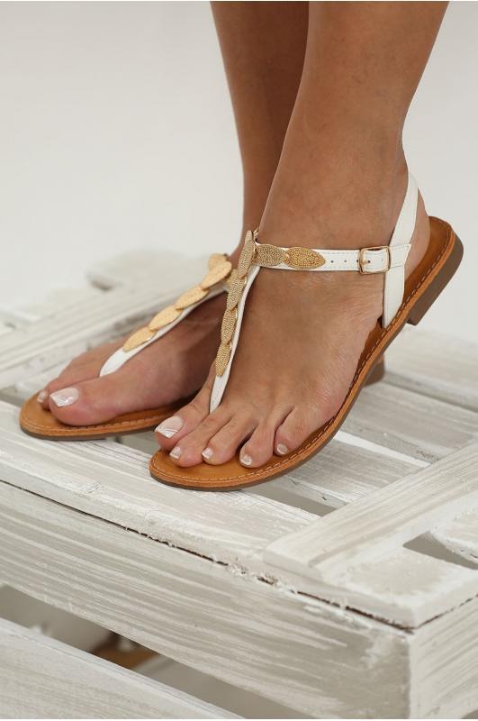 Sandalias de dedo blancas