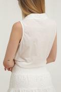 Camisa corta bordado inglés blanco