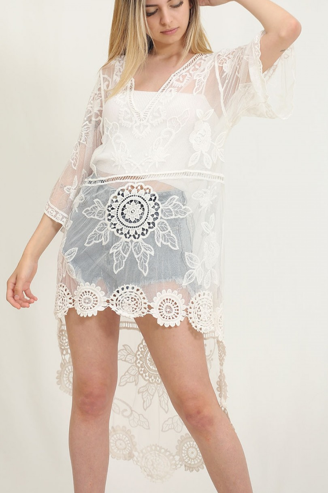 Kimono tul blanco asimétrico