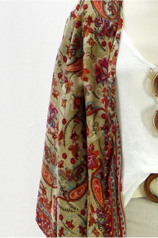 Kimono largo de seda beige granate