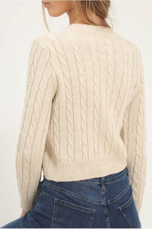 Jersey tricot trenzado beige