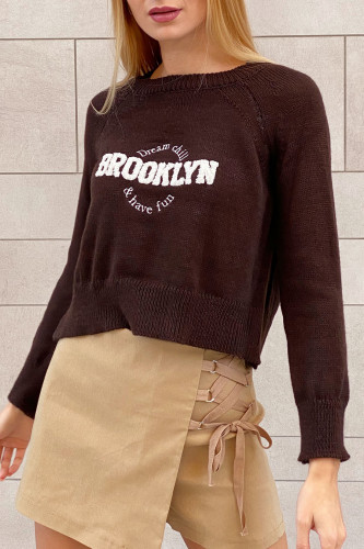 Jersey punto Brooklyn marrón