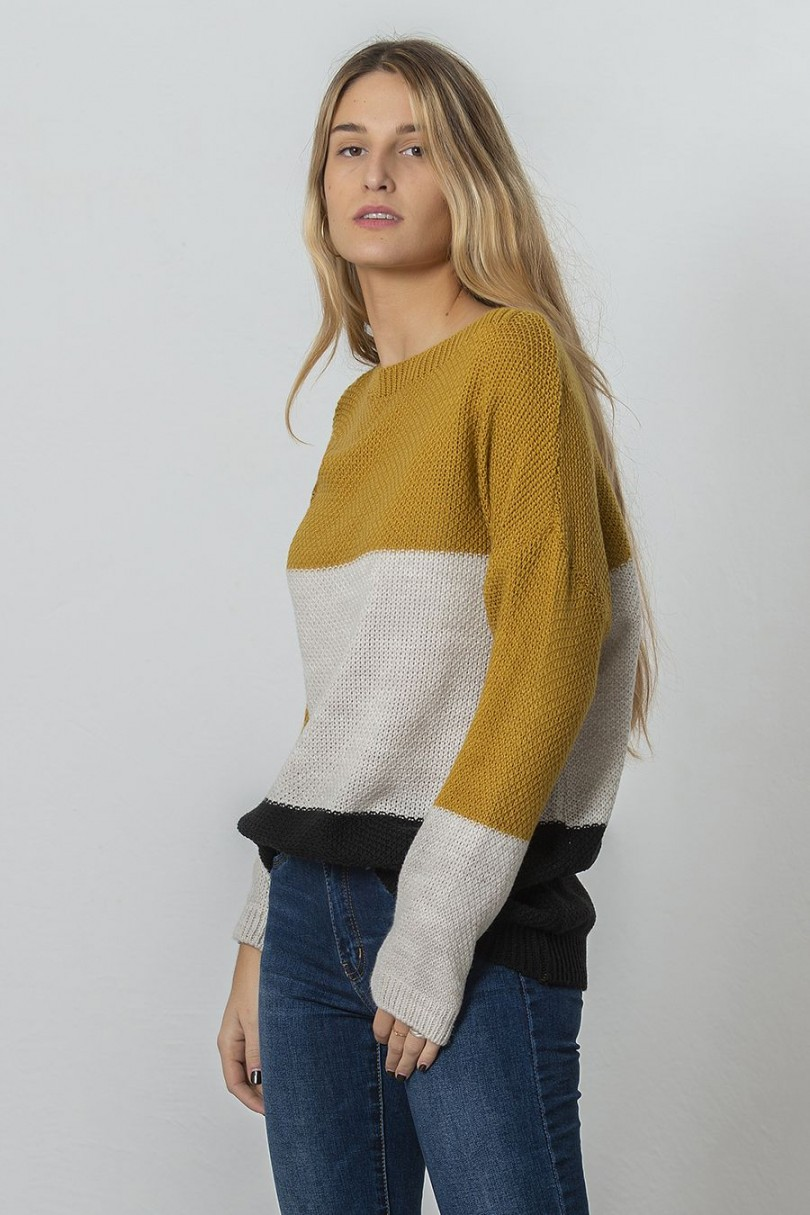 Jersey lana tres colores ocre