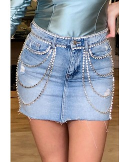 Falda denim cadenas y brillantes