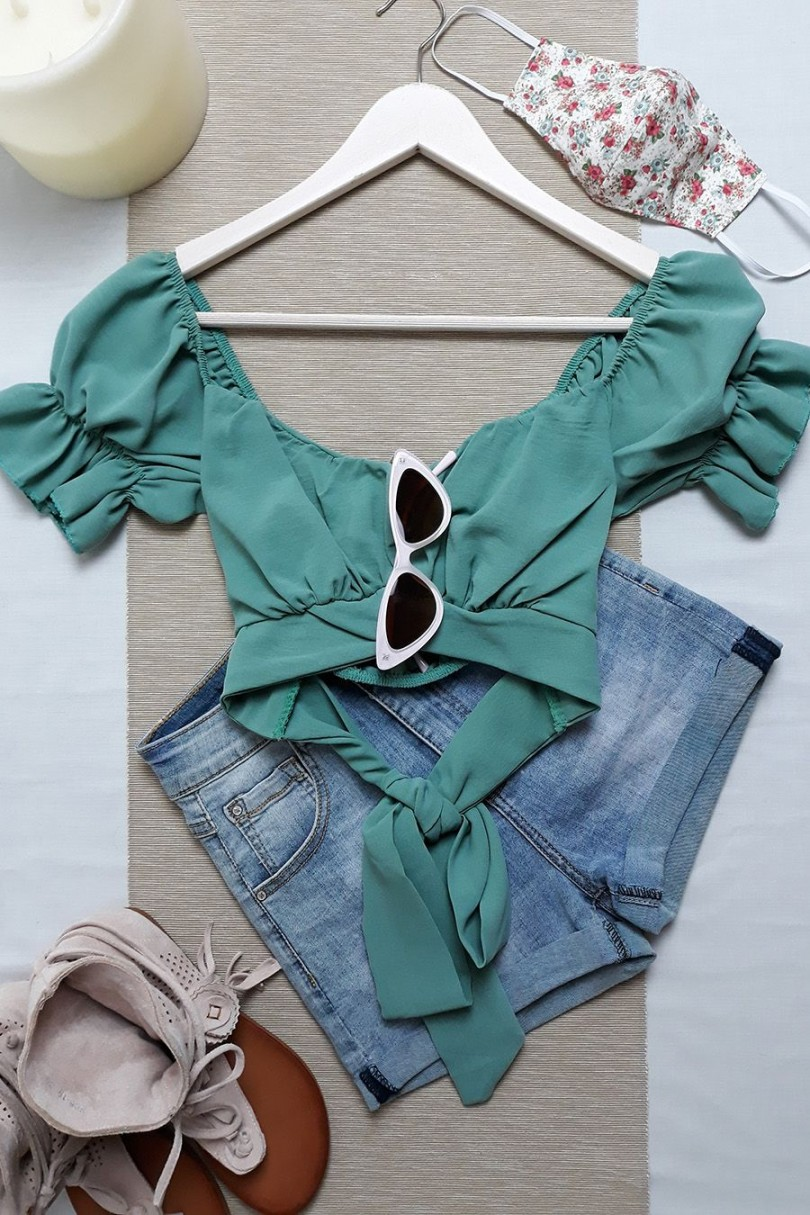 Crop top bardot lazo verde