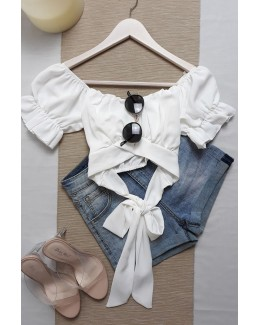 Crop top bardot lazo blanco