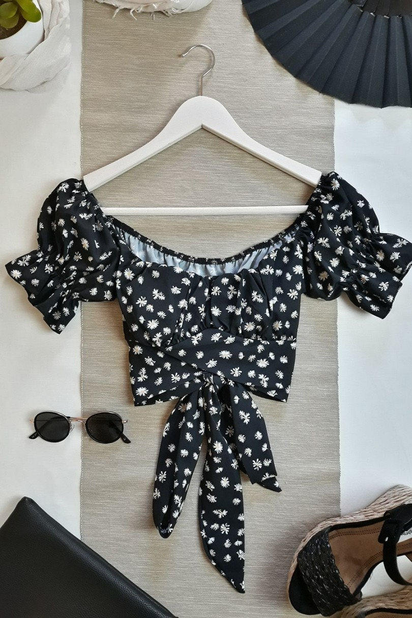 Crop top bardot margaritas negro