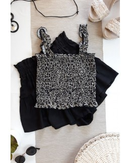 Crop top leopardo kaki