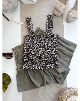 Crop top leopardo tostado