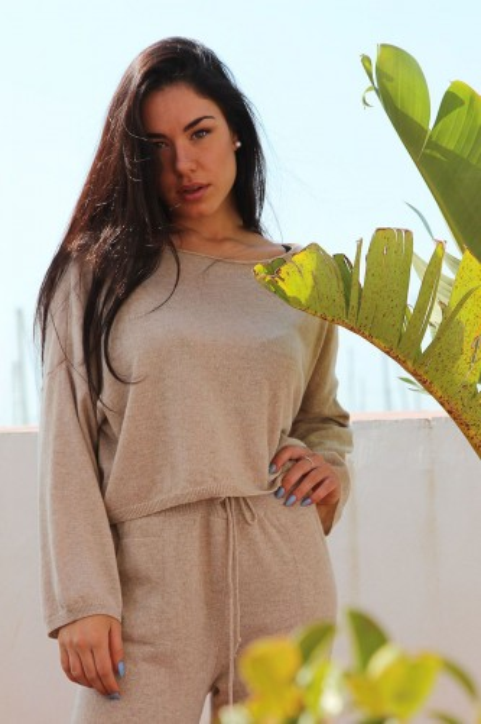 Jersey corto oversize beige