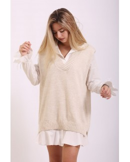 Chaleco oversize beige