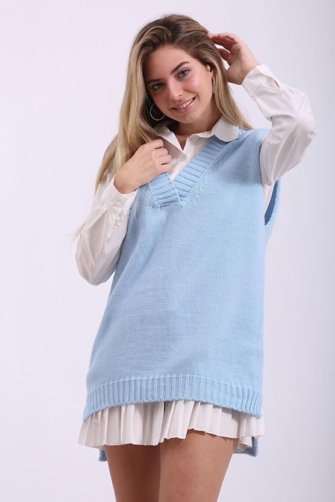 Chaleco de lana celeste